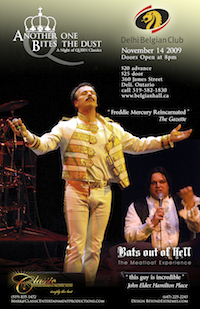 Poster - Another One Bites the Dust & Bats Out of Hell.  'Freddie Mercury Reincarnated' -The Gazette. 'This guy is incredible' - John Elder, Hamilton Place