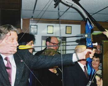 Prince Filip of Belgium shooting archery in 1998